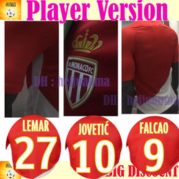 Wholesale France Soccer Shirt - #9 Falcao Player Version AS Monaco Soccer Jersey JOVETIC LEMAR France clubTeam 2017 2018 Fabinho Shirt Camisa Monaco Camisetas Futebol