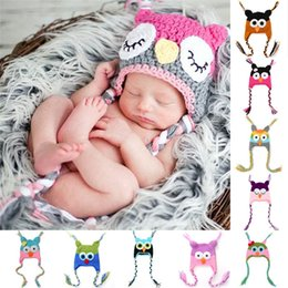 Wholesale Wholesale Easter Outfit Baby - Fashion Newborn Baby Photo Props Outfit Cartoon Infant Toddler Handmade Knitted Crochet Baby Owl Hat Ear Flap Animal Cap S6005