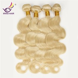 """Wholesale 22 Wavy Blonde Hair Extensions - Beautiful Blonde Color 613 European Brazilian Virgin Hair Body Wave wavy Hair Weaves 4pcs 100g Mixed 8""""-30"""" remy blonde hair Extensions"""