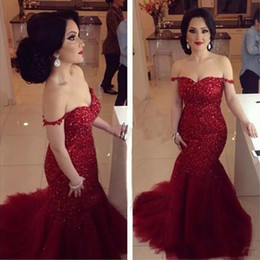 Wholesale Orange Shiny Skirt - Burgundy Mermaid Bridal Party Dresses Sexy Off Shoulder Shiny Sequined Tulle Skirts Sweep Train Long Evening Gowns Arabic 2017