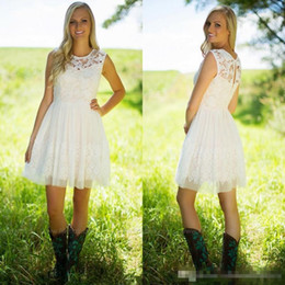 Wholesale Knee Length Western Wedding Dresses - 2017 Cute Little White Lace Bridesmaid Dresses A Line Jewel Neck Western Country Garden Short Homecoming Party Wedding Guest Gowns Under $70