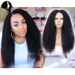 """Wholesale Remy Hairstyles - Kinky Straight Silk Base Lace Front Human Hair Wigs Brazilian Remy Hair 10-26"""" Glueless Lace Wigs Pre Plucked Hairline"""