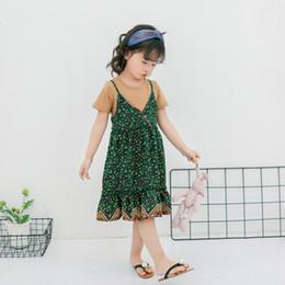 Wholesale Set T Shirt Tank Top - 2017 Princess Girls Dress Sets Floral Tank Dresses + Short Sleeve Tops Shirts 2pcs T-shirts Dress Suits For Girl Summer New Set A6675
