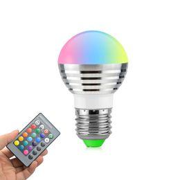 Wholesale ir remote light switch - 1Pcs Lovely 16 Colors RGB Christmas Decor Atmosphere LED Night light E27 5W 110V - 220V LED lamp Spotlight Bulb + IR Remote
