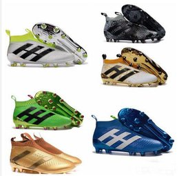 Wholesale Children High Top Shoes - Kids Mens Women Soccer Cleats ACE 16+ Purecontrol FG Children High Tops Football Boots Sales Boys Soccer Boots Youth Soccer Shoes New 2016