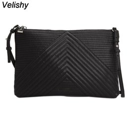 Wholesale Leather Clutch Purse Strap - Wholesale- Velishy Luxury Soft PU Leather Women Messenger Bags Crossbody Bag Black Clutch Purse and Handbag Long Strap Main Dollar Price