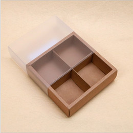 Wholesale Box For Mooncake - 100pcs Transparent frosted PVC cupcake boxes Gift Packaging For Home Party Maccaron Package Kraft paper cake box Muffin baking box wholesale