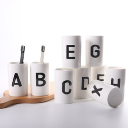 Wholesale Dishes Decor - White Children Milk Cup Letters Cups Safety Baby Fedding Drinking Cup Modern Home Decor Tableware Dishes Coffee Mugs XL-413