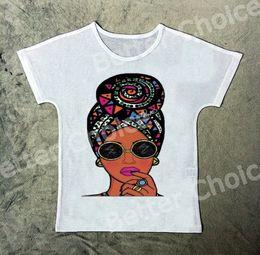 Wholesale cool vintage shirts - Track Ship+New Vintage Retro T-shirt Top Tee Cool Brown Skin Fashion Scarf Girl Black Sun Glasses 1080