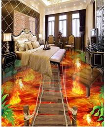 Wholesale Soundproof Floor - Wholesale-3d wallpaper custom 3d flooring painting wallpaper murals Flame to draw 3 d floor tile living room photo wallpaper