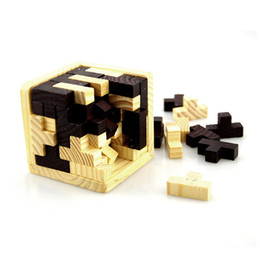 Wholesale pc intelligence - Wooden Intelligence Game 3D Wood Jigsaw Puzzle Brain Teaser Magic Tetris Cube 54 PCS Cube Toy