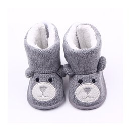 Wholesale cute boots for girls - Wholesale- Cotton Cute Bear Baby Moccasin Booties Winter Warm Baby Boots Shoes Baby Boy Girl Booties For Newborns F3