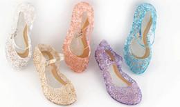 Wholesale Kids High Heels Wholesale - Girls Glass slipper shoes summer kids High heels Sandals Elsa sandals Cinderella princess sandals girls dance shoes kids clogs 30-35 6279