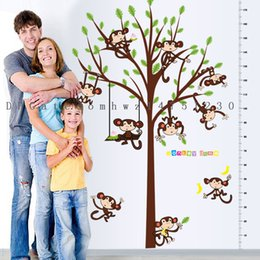 Wholesale Decal Monkeys - New SK2006 monkey tree height affixed to the children's room kindergarten decorative wall stickers double pvc can be removed