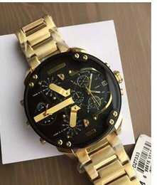 Wholesale Face Shell - 2017 extra large dial DZ7333 men's watch gold stainless steel strap black shell black face quartz movement 57mm