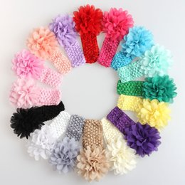 Wholesale Colorful Hair Bands - Baby Headwear Girl Flower Hair Accessories Colorful 4 inch Chiffon flower soft Elastic crochet headbands stretchy hair band