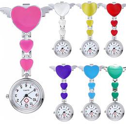 Wholesale Pocket Nurses Watch - Wholesale-Women Lady Cute Love Heart Quartz Clip-on Fob Brooch Nurse Pocket Watch