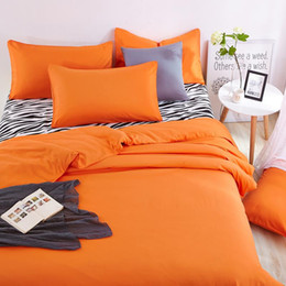 Wholesale Zebra Bedding Twin - Wholesale- New Cotton Home Bedding Sets Zebra Bed Sheet and Orange Duver Quilt Cover Pillowcase Soft and Comfortable King Queen Full Twin