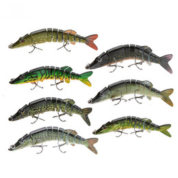 "Wholesale Multi Jointed Fishing Lures - 5"" 12.5cm 20g Lifelike Multi-jointed 9 Segement Pike Muskie Fishing Lure Hard Bait Fish Treble Hook Tackle"