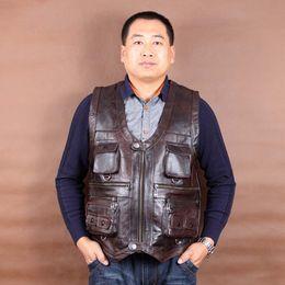 Wholesale Mens Brown V Neck Vest - Wholesale- New Arrival Genuine Leather Vest Mens Sleeveless Jackets Pockets Vests Waistcoat Autumn Winter Dark Brown L-6XL