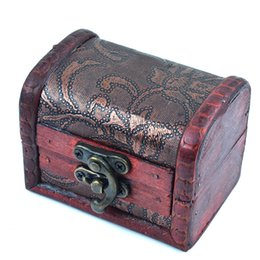 Wholesale Mini Wooden Storage Box - Vintage Jewelry Box Organizer Storage Case Mini Wood Flower Pattern Metal Container Handmade Wooden Small Boxes