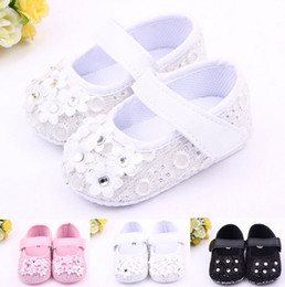 Wholesale Fabric Baby Bedding - Fashion With six small flowers shoes first step neonatal soft soles baby bed shoes baby girl princess shoes