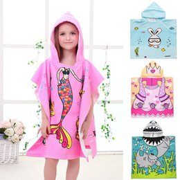 Wholesale Children Hooded Bath Towel - Bath Towel Micro Fiber Material Kid Cartoon Print Hooded Cloak Bathing Swimming Towels Multi Style Optional Hot Sale 14bl F R