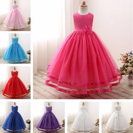 Wholesale Wedding Clothes For Children - Long Evening Party Gown Designs for princess kids dress Flower Girl Wedding Dress Children Ball Clothing Girls Dresses