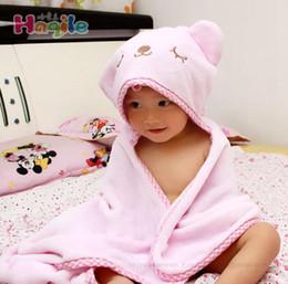 Wholesale Flannel Swaddle - Flannel Baby Blankets Newborn Hooded Animal Blanket Cartoon Envelope Cloak Soft Toddler Swaddle Wrap Bear Bag