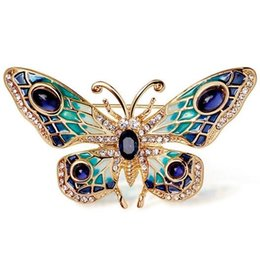 Wholesale Bridal Butterfly Brooch - Wholesale- Christmas Gift Luxury Butterfly Brooch Suit Scarf Clip Women Dress Wedding Bridal Lapel Pin Party Jewelry
