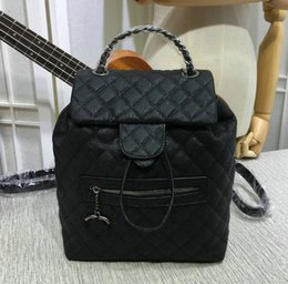 Wholesale Hobo Leather Backpack - 2018 Genuine Leather Large Shoulder Bags Women's Black Calfskin Quilted Flap Backpack zipper Pocket Lady Drawstring Backpack Bags