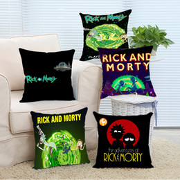 Wholesale 18x18 Pillow Cases - Wholesale- Pillow Case Rick and Morty Comfort Cool Covers Cover Case 14x14 16x16 18x18 20x20 24x24 inch Two Sides Zippered Home Throw Pill