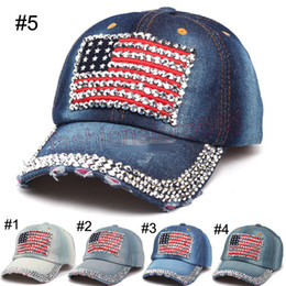 Wholesale Wholesale Denim Hats - Women baseball caps Summer 4th of July American Flag Hat Cowboy Fashion Rhinestone denim Cap 6 Panels Snapback Leisure Sun Hat