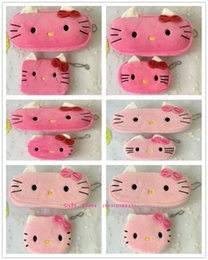 Borsa della moneta del gattino online-Wholesale- Novelty 2PCS=1SET , Kid's Hello Kitty Plush 10CM Coin BAG Series , Pocket Coin Purse Wallet Pouch , 20cm Coin Pencil BAG Pouch