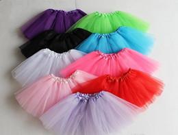 Wholesale Yellow Ballet Kid Dress - 13 colors Top Quality candy color kids tutus skirt dance dresses soft tutu dress ballet skirt 3layers children princess dress