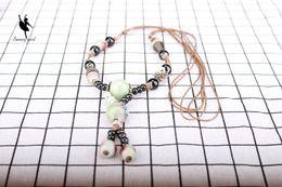 Wholesale Custom Titanium Rope Necklaces - Ethnic Vintage Handmade China Ceramic Ancient Silver Color Beads Pendant Necklace Women Folk-Custom Ethnic Rope Jewelry