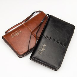 Wholesale Retro Bags For Men - Brand Designer Baellery New Mens Wallet PU Leather Long Wallet Men for Cellphone Male Card Holder Clutch Bags Zipper Black Brown Retro Purse