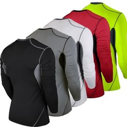 Wholesale Mma Skin - Men Compression MMA Rashguard Fitness Long Sleeves Shirts Base Layer Skin Tight Weight Lifting Running Training T Shirts