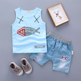 Wholesale Korean Clothing For Kids - 2017 Summer Korean version of the new children's clothes set letters fish T-shirt denim shorts 2PCS sets free shipping for 1-3Y kids boys