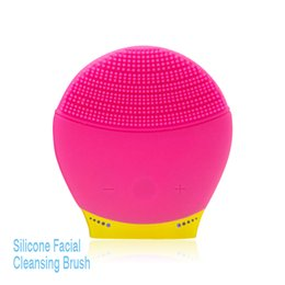 Wholesale Small Battery Usb - New Arrivals Small USB Charging Waterproof Electric Sonic Silicone Face Cleansing Brush With 5 Speeds For Exfoliating And Massage