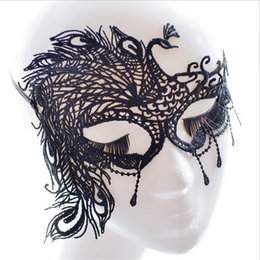 Wholesale Hot Dresses For Ladies Sexy - Hot sell Black Sexy Lady Lace Mask Eye Mask for Masquerade Party Fancy Dress Costume Hallowmas mask