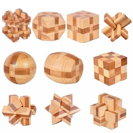 Wholesale Vintage Wooden Puzzles - 10 pcs set 3D handmade vintage Ming lock Luban lock wooden toys adults puzzle children adult Christmas gift