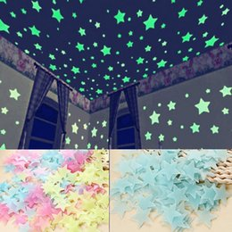 Wholesale Glow Dark Adhesive - 100pcs Set Stars Wall Stickers Decal Glow In The Dark Baby Kids Bedroom Home Decor Color Luminous Fluorescent Wall Stickers Decal 170814