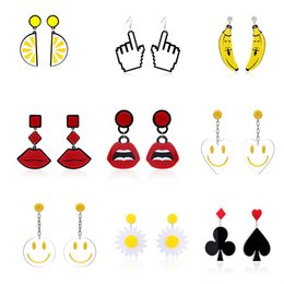 Wholesale Funny Alphabet - Cindiry New Unique Dangle Earrings For Women Punk Charms Funny Drop Earrings GiftFun earrings free dhl