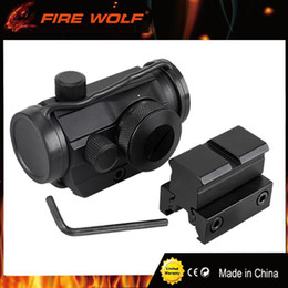Wholesale Red Profile - FIRE WOLF Hunting Airsoft Red Green Dot Sight Scope Tactical Reflex w  Dual High   Low Profile Rail Mounts Hunting Riflescope