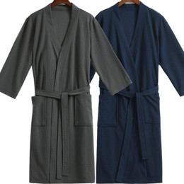 Wholesale Cotton Bathrobes Men Wholesale - Wholesale- Lovers Kimono Sexy Night Bath Robe Cotton Dressing Gown for Women Men Waffle Bathrobe Bridesmaid Robes Wedding Bride Sleepwear