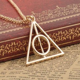 Wholesale Harry Necklace - Popular Movie Harry Deathly Hallows Pendant Necklace Movie Trendy Jewelry Long Chain Triangle Necklace 3 Colors