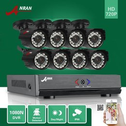 Wholesale Cctv Security Kits - ANRAN P2P 8CH HD 1080N AHD DVR Kit 720P 1800TV 24 IR Day Night Outdoor Waterproof Camera Home Surveillance CCTV Security System