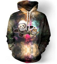 Wholesale Pullover Hoodies Panda - New Fashion Couples Men Women Unisex Cat Panda Astronaut Pals Galaxy 3D Print Hoodies Sweater Sweatshirt Jacket Pullover Top S-5XL T64