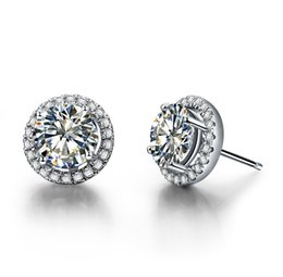 Wholesale Mounted Stud Earrings - 1 Carat pair Mount Micro Paved Round Cut Synthetic Diamond Jewelry Engagement Earrings Stud Wholesale Sterling Silver Jewelry Fine